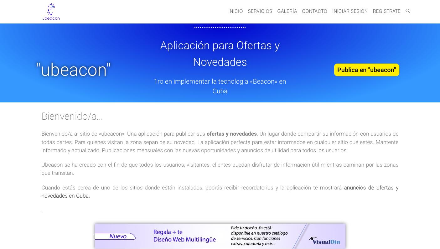 """Página web del sitio de """"ubeacon"""". Con diseño del diseñador freelance Yoe Riba"""