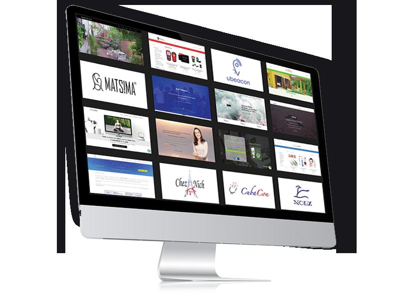 Imagen de una website en una Mac. Con diseño adaptable. Para landing page de servicios de diseño web. Diseñador web.